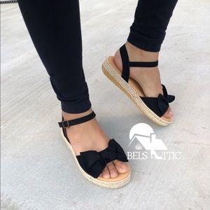 Shoes - Black open Toe Bow Espadrille Flatform Sandals